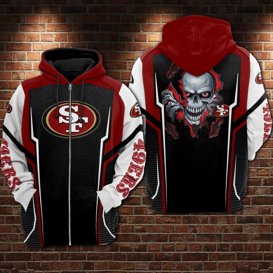 Skull san francisco 49ers full printing zip hoodie
