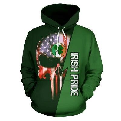 St patrick's day irish pride skull full printing hoodie 1