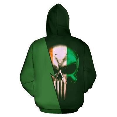 St patrick's day irish pride skull full printing hoodie 2