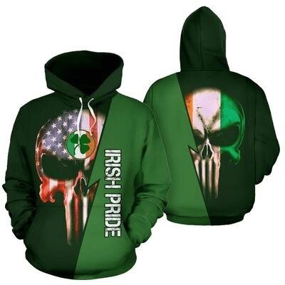 St patrick's day irish pride skull full printing hoodie