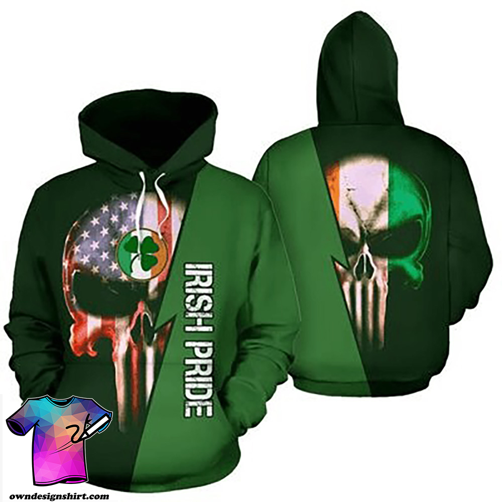 St patrick's day irish pride skull full printing shirt