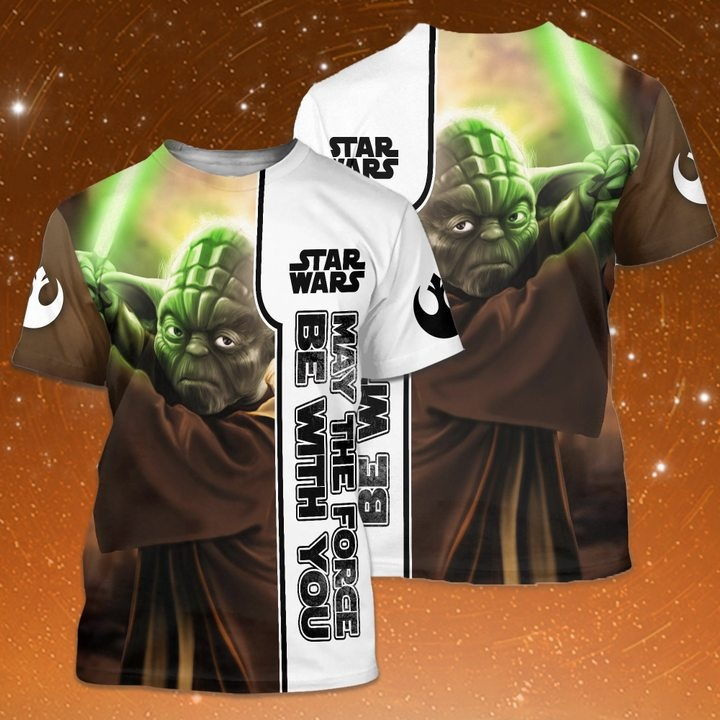 Star wars may the force be with you baby yoda full printing tshirt