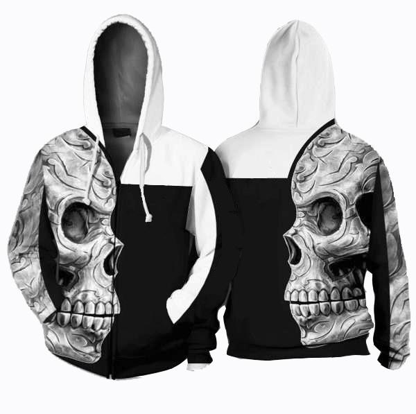 Sugar skull all over printed hoodie 1