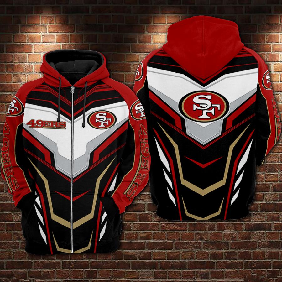 Super bowl san francisco 49ers full printing zip hoodie