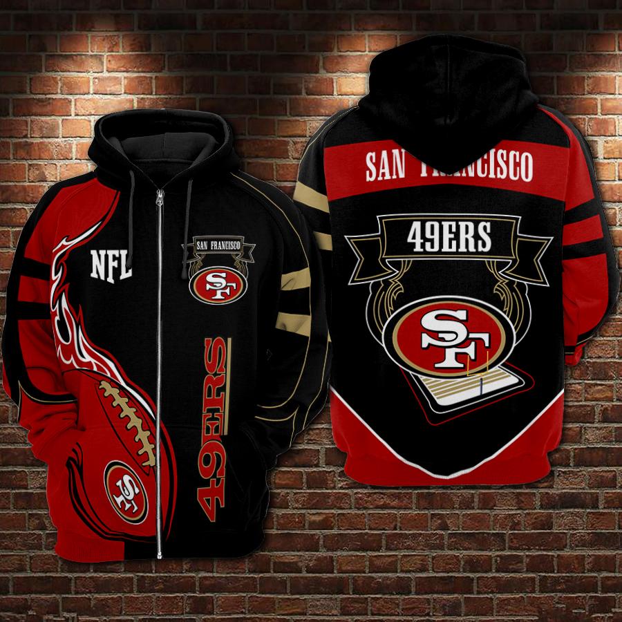 Super bowl san francisco 49ers nfl full printing zip hoodie