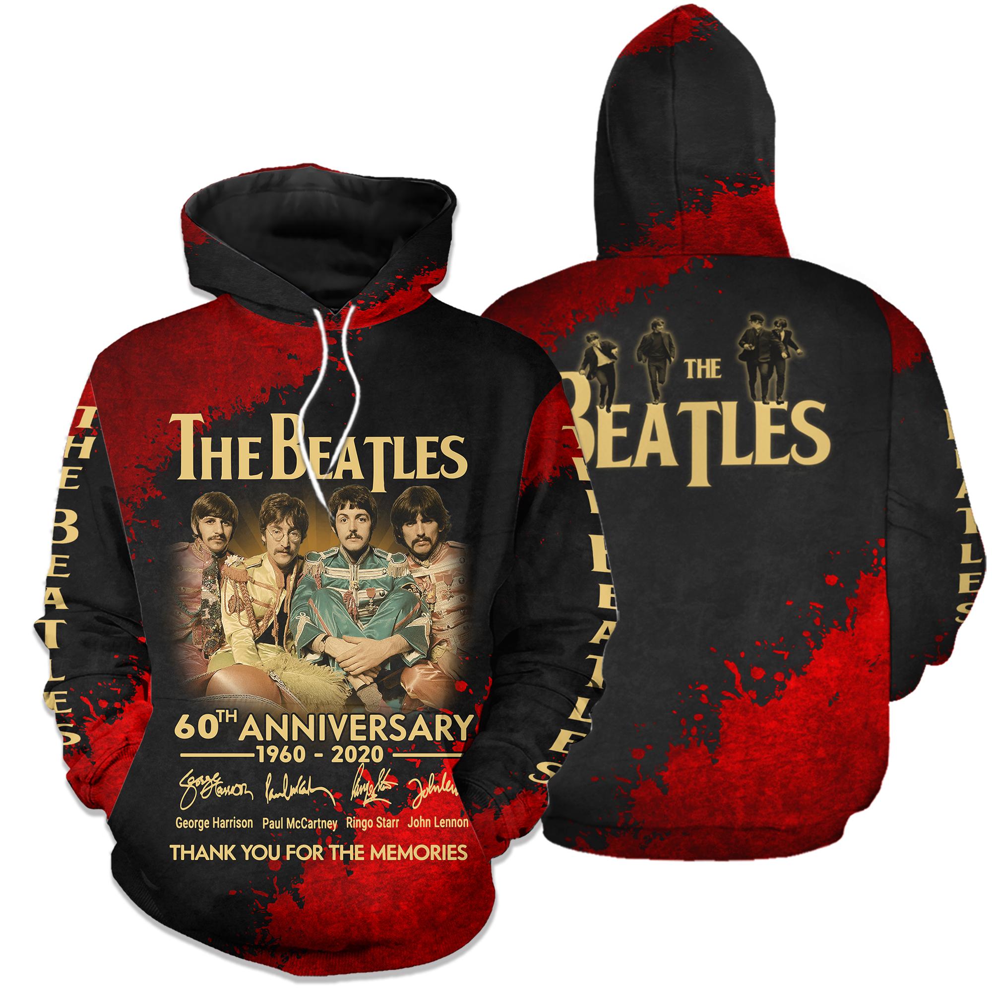 The beatles 60th anniversary 1960-2020 full printing hoodie