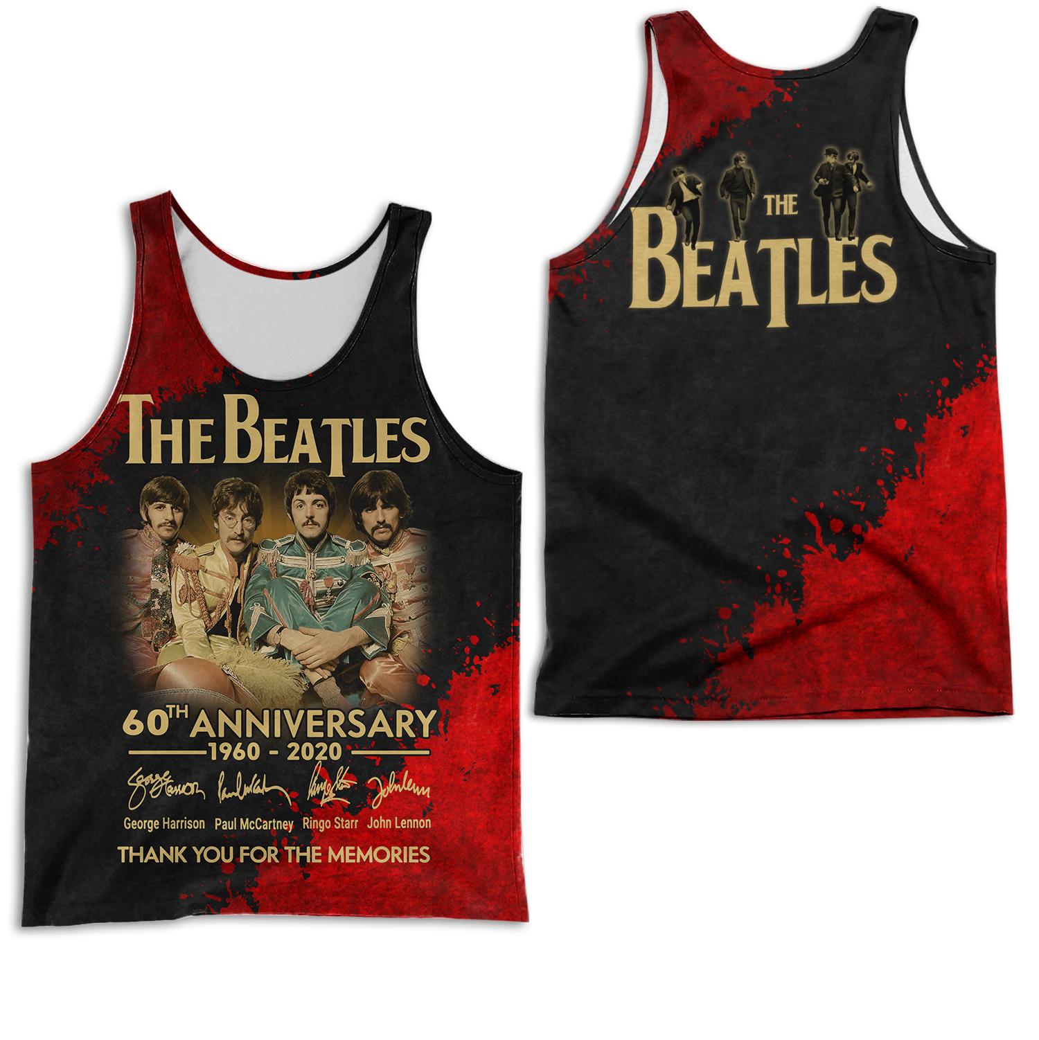 The beatles 60th anniversary 1960-2020 full printing tank top