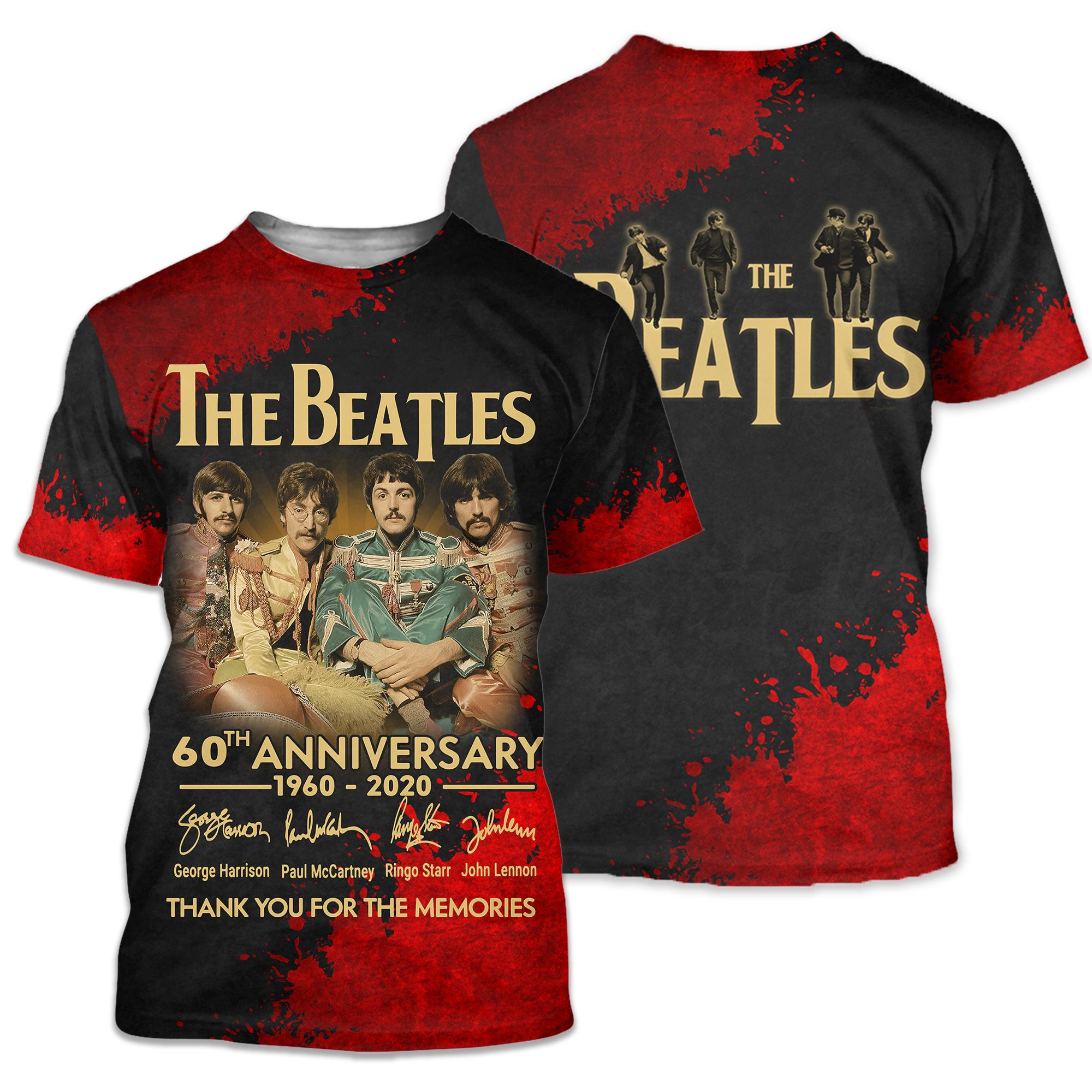 The beatles 60th anniversary 1960-2020 full printing tshirt