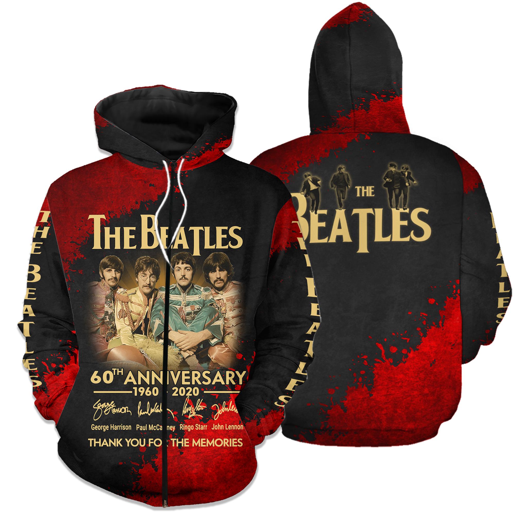 The beatles 60th anniversary 1960-2020 full printing zip hoodie