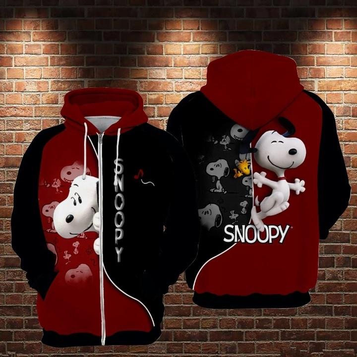 The charlie brown and snoopy full printing zip hoodie 1