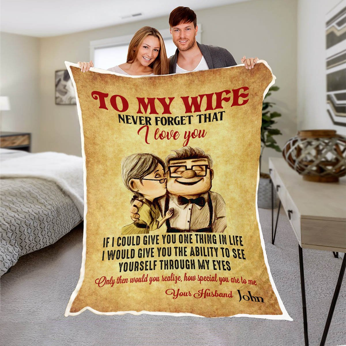 To my wife never forget that i love you blanket 3
