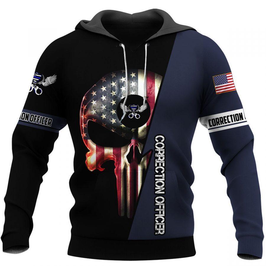 US correction officer skull full printing hoodie 1