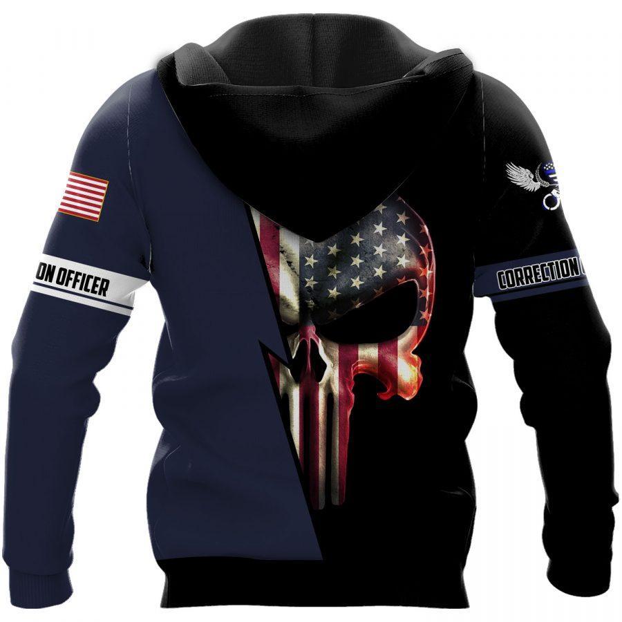 US correction officer skull full printing hoodie - back