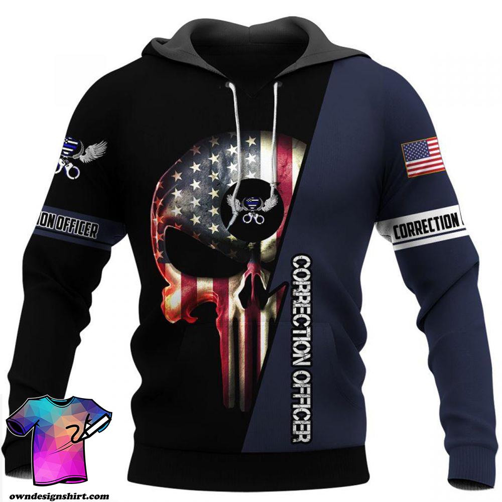US correction officer skull full printing shirt