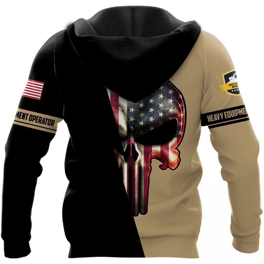 US heavy equipment operator skull full printing hoodie - back 1