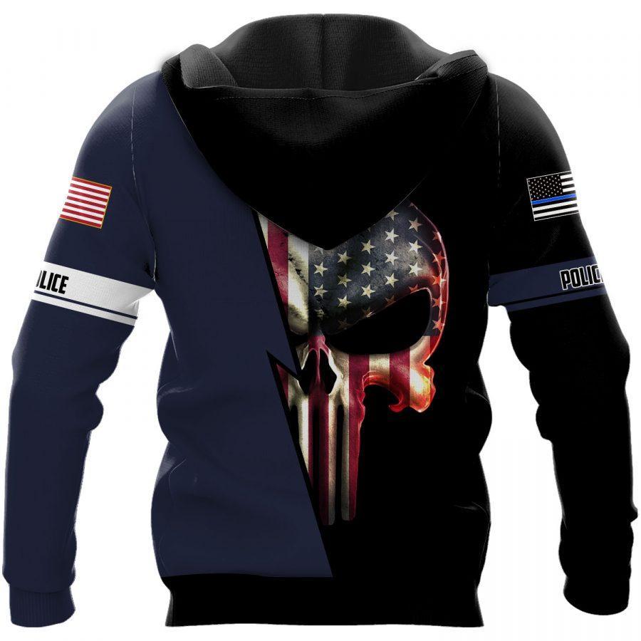 US police skull full printing hoodie - back 1