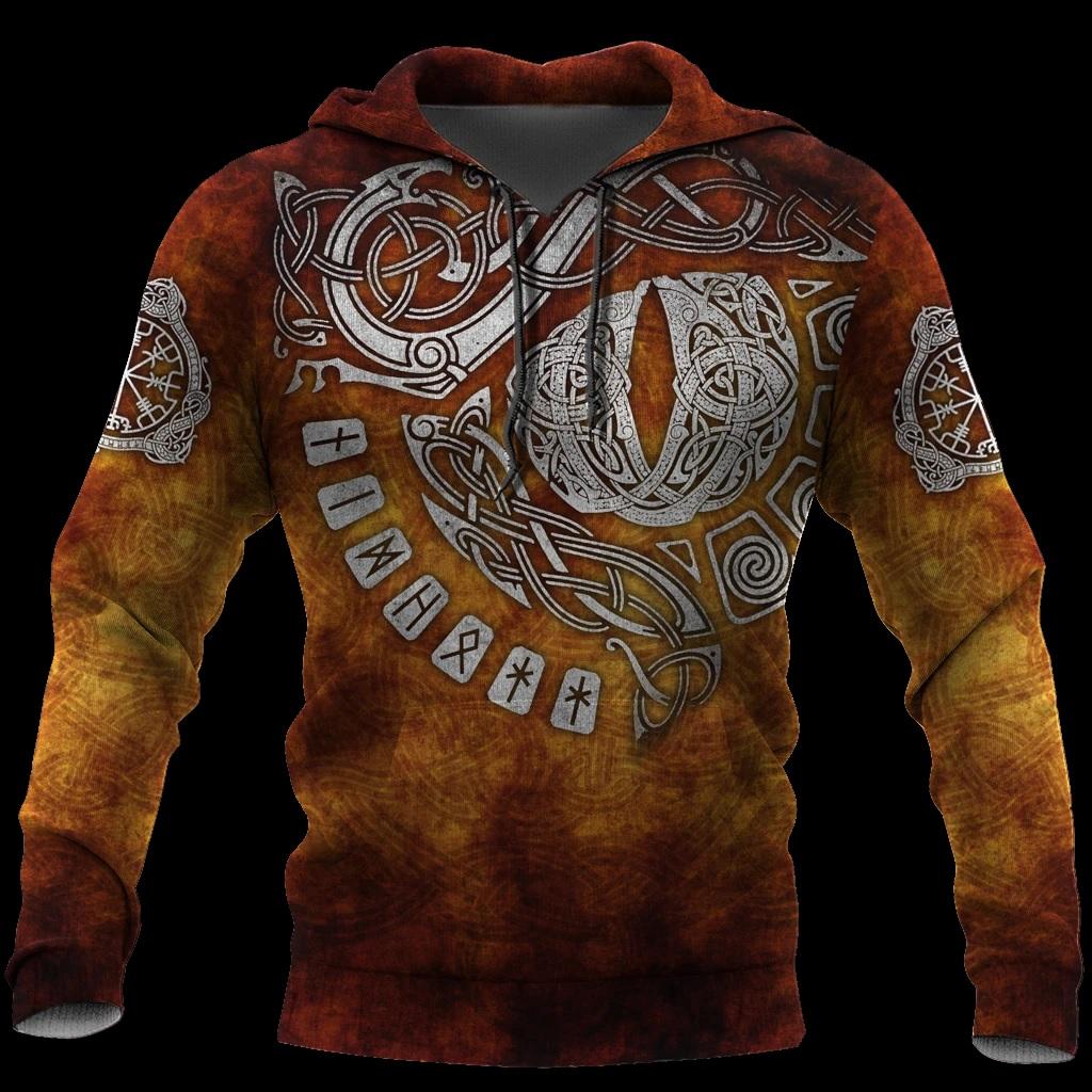 Valhalla odin valknut viking full printing hoodie