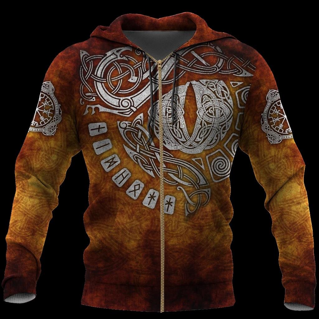 Valhalla odin valknut viking full printing zip hoodie