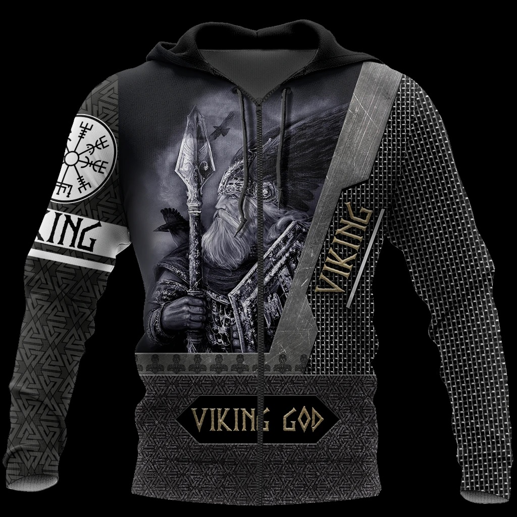 Viking God all over printed zip hoodie