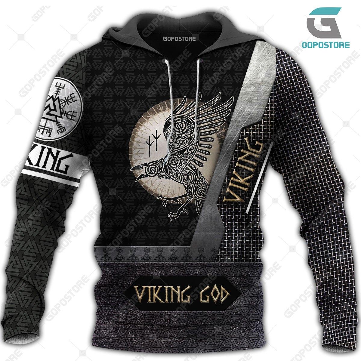 Viking god huginn and muninn full printing hoodie