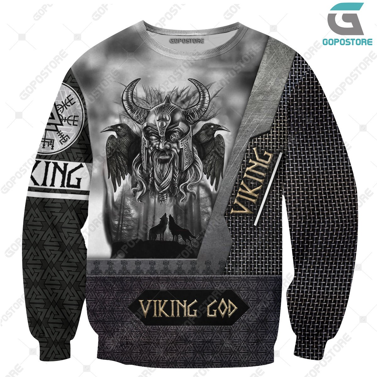 Viking god odin the all father full printing sweatshirt