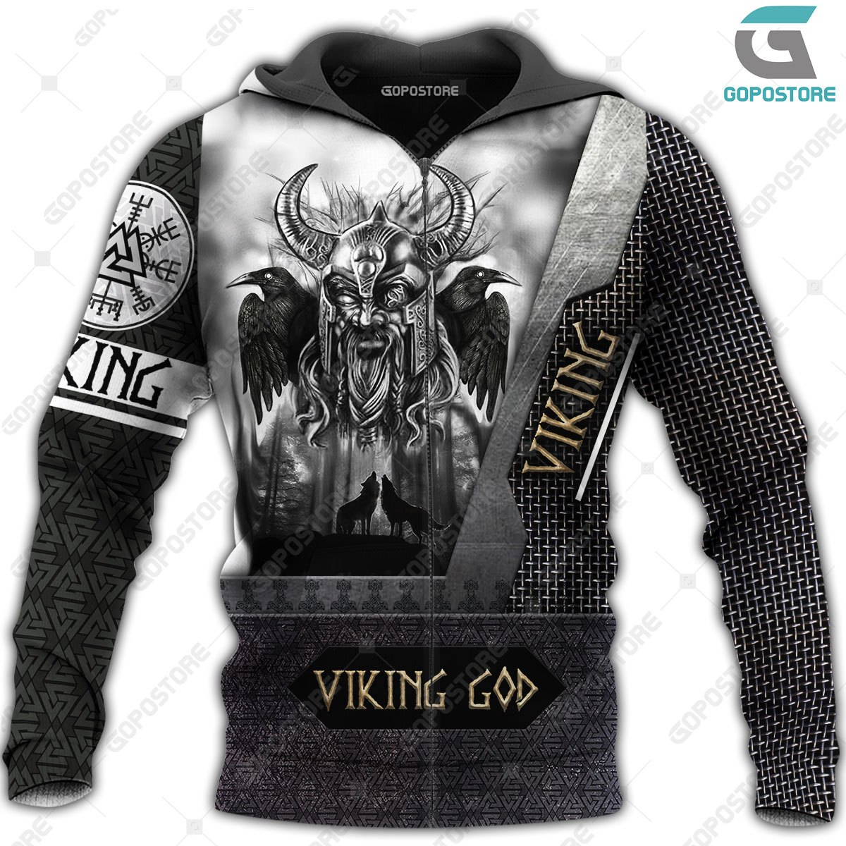 Viking god odin the all father full printing zip hoodie