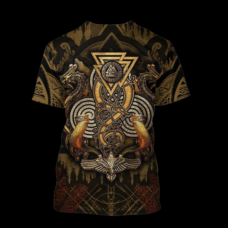 Viking odin's ravens full printing tshirt - back
