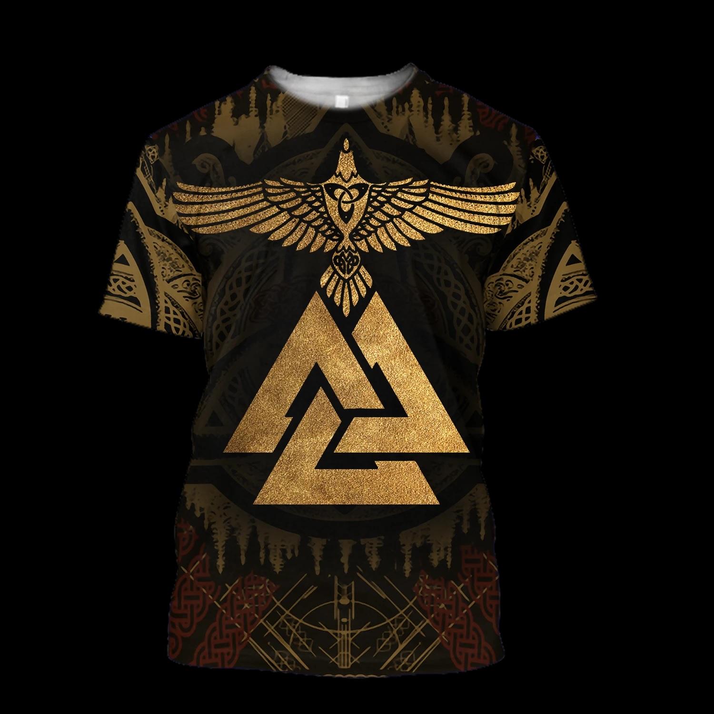 Viking odin's ravens full printing tshirt