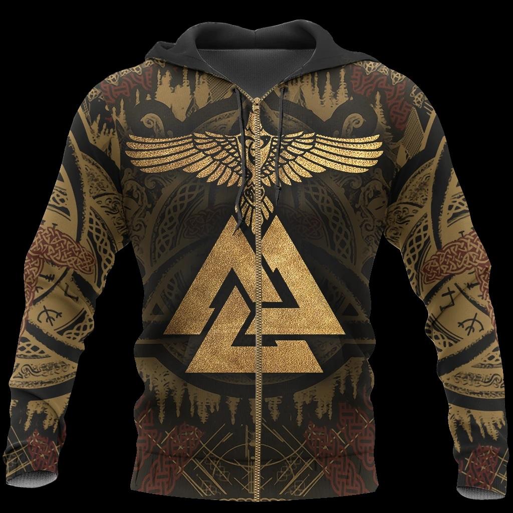 Viking odin's ravens full printing zip hoodie