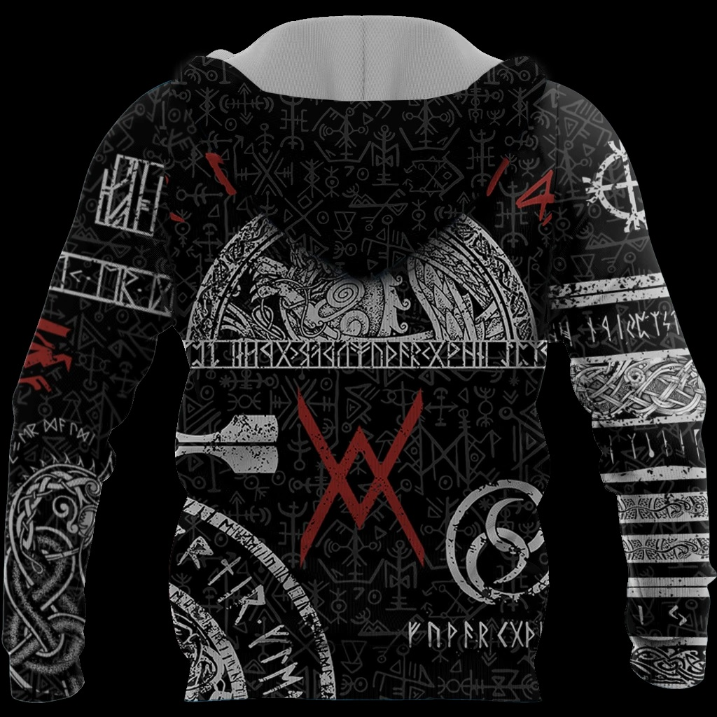 Viking tattoos style full printing hoodie - back
