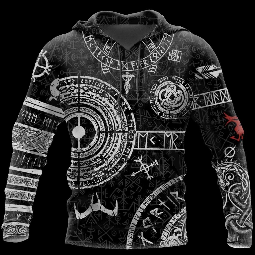 Viking tattoos style full printing hoodie