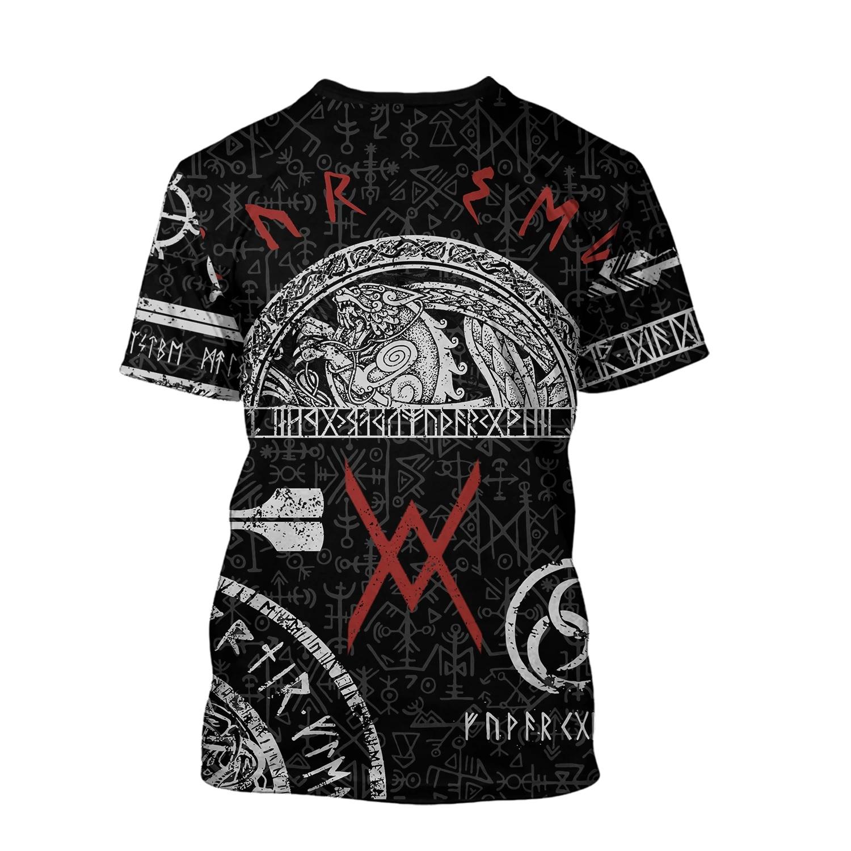 Viking tattoos style full printing tshirt - back