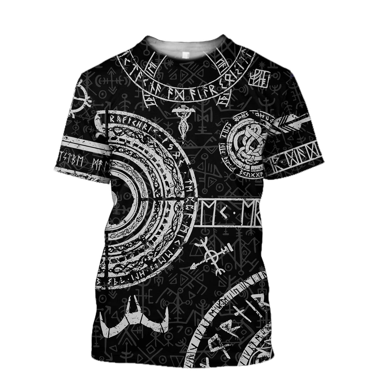 Viking tattoos style full printing tshirt