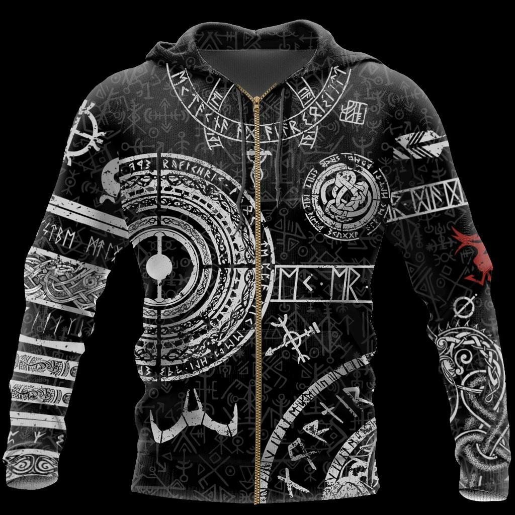 Viking tattoos style full printing zip hoodie