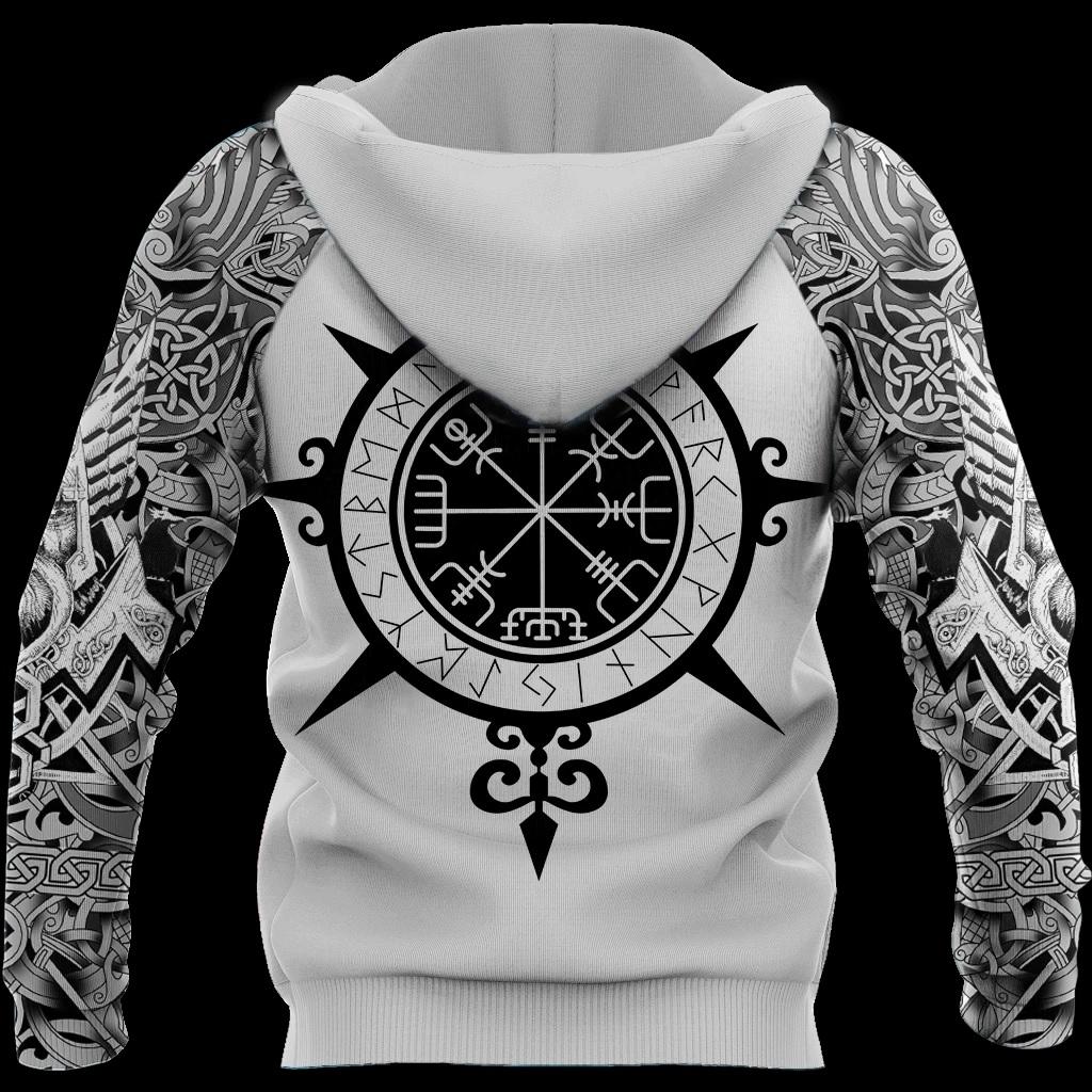 Viking warrior tattoo full printing hoodie - back