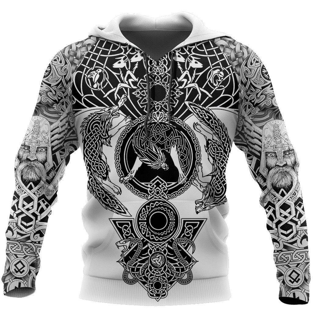 Viking warrior tattoo full printing hoodie