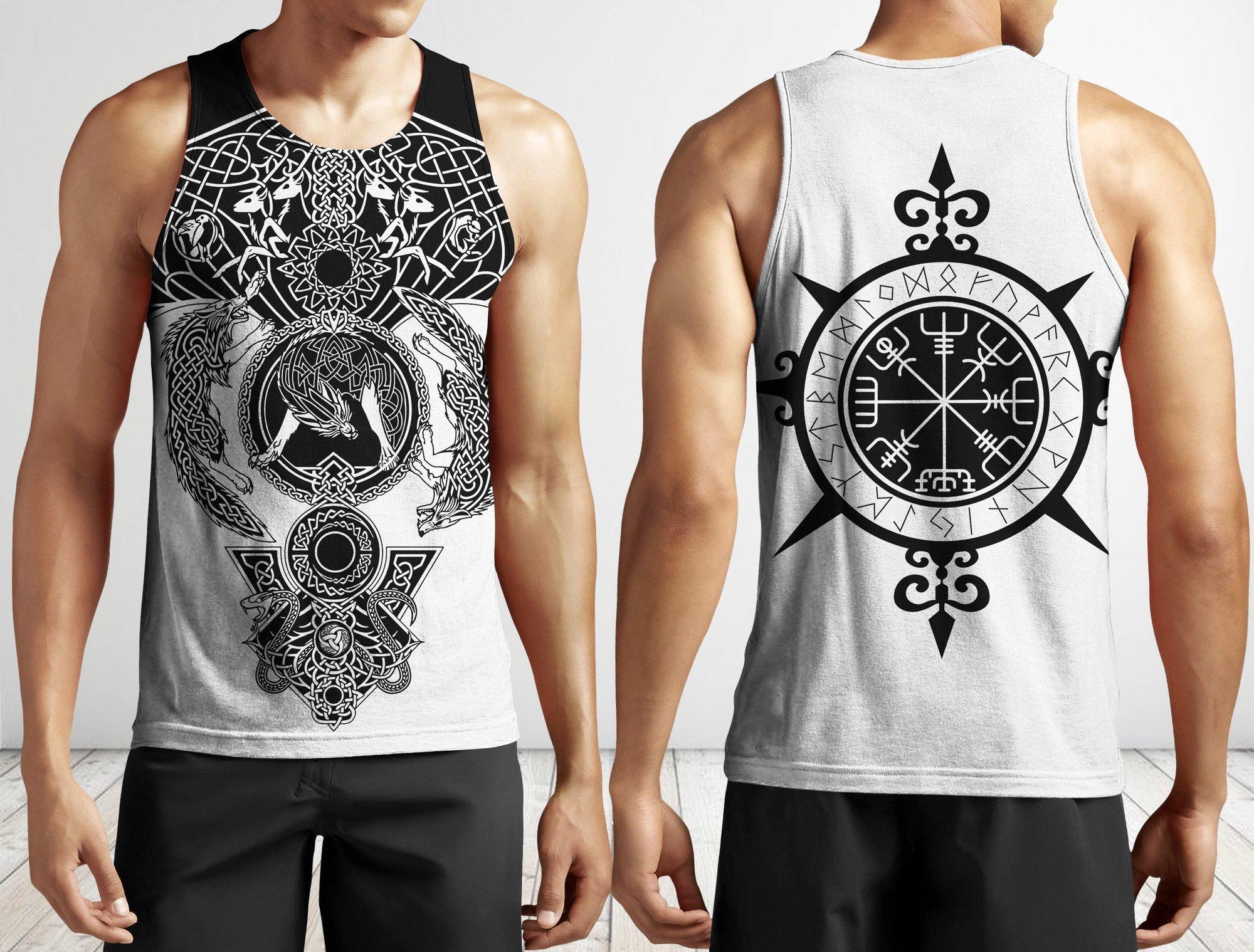Viking warrior tattoo full printing tank top