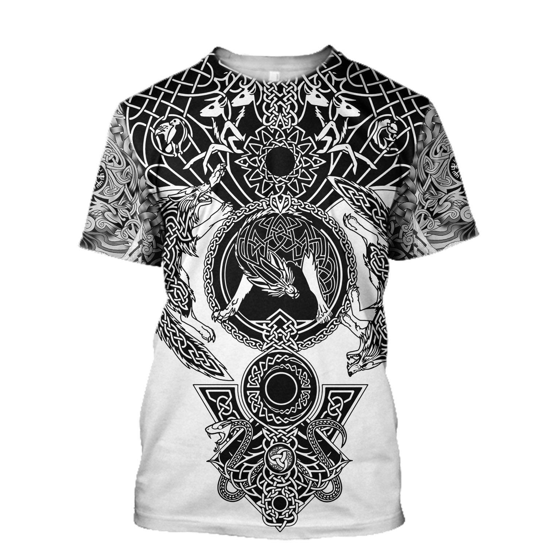 Viking warrior tattoo full printing tshirt
