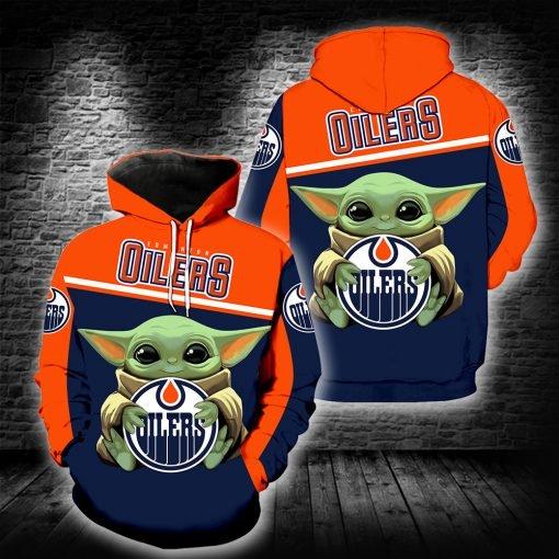 Baby yoda edmonton oilers full printing hoodie