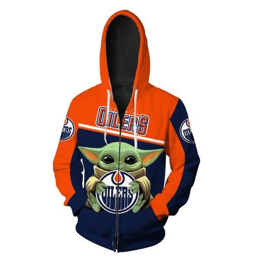 Baby yoda edmonton oilers full printing zip hoodie