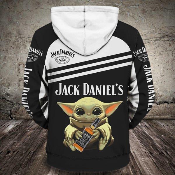 Baby yoda hug jack daniel's full printing hoodie 1
