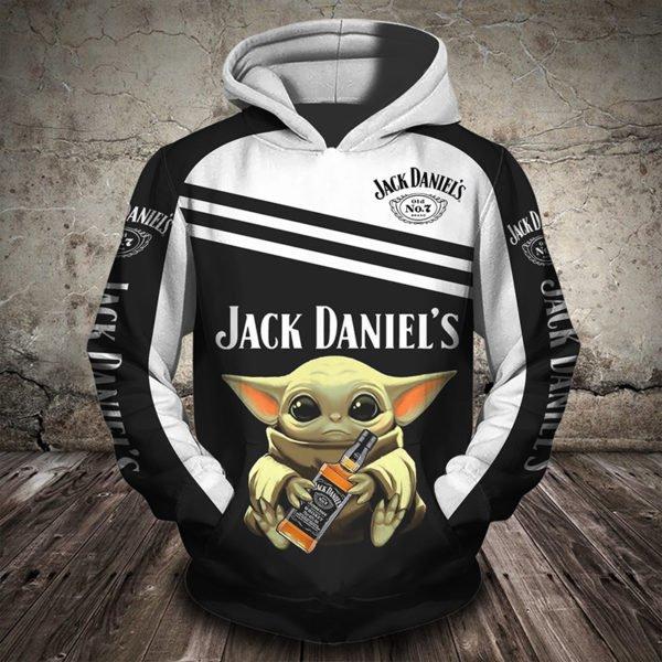 Baby yoda hug jack daniel's full printing hoodie