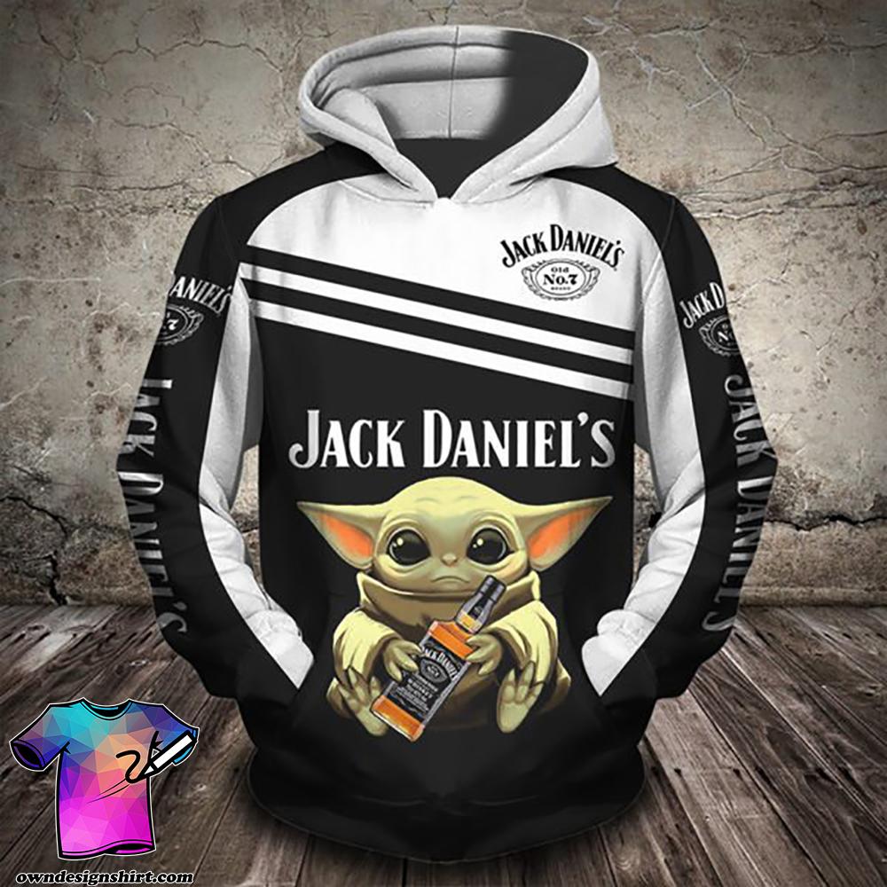 Baby yoda hug jack daniel's full printing shirt