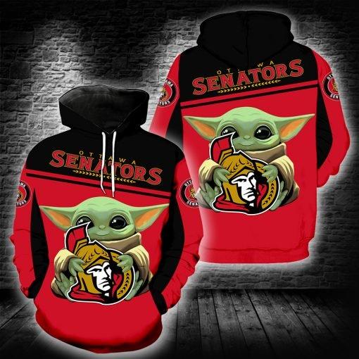 Baby yoda ottawa senators full printing hoodie