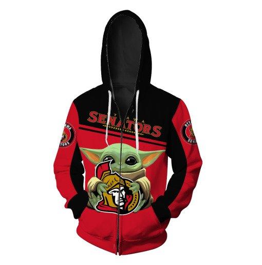 Baby yoda ottawa senators full printing zip hoodie