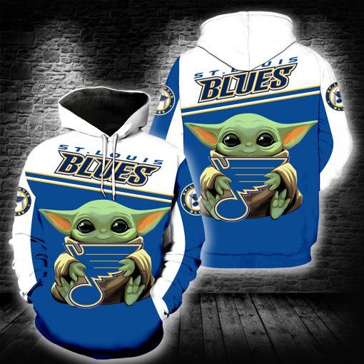 Baby yoda st louis blues full printing hoodie