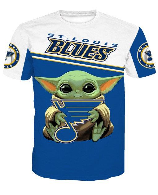 Baby yoda st louis blues full printing tshirt