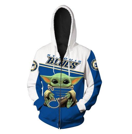 Baby yoda st louis blues full printing zip hoodie