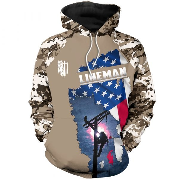 Camo lineman american flag full printing hoodie