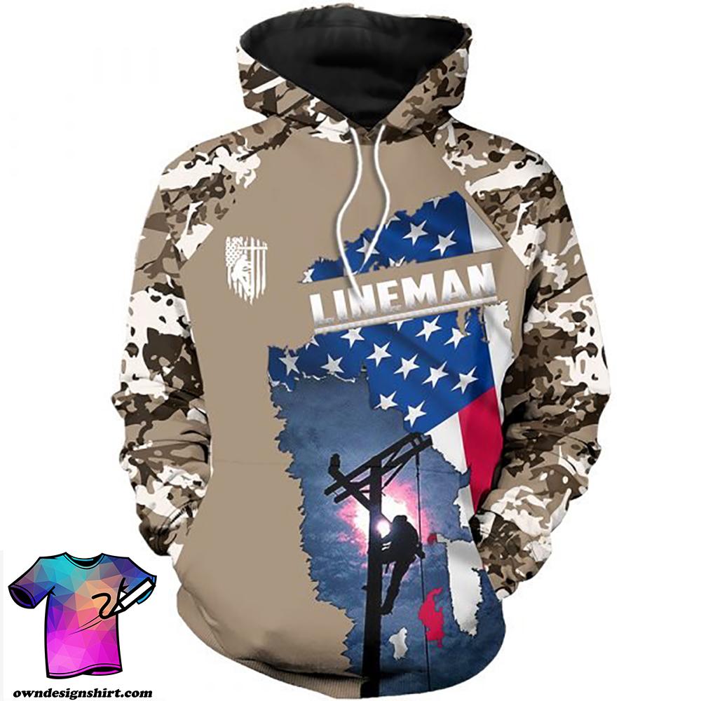Camo lineman american flag full printing shirt